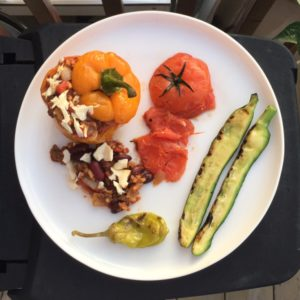 Get Your BBQ Ready! Roasted Peppers Stuffed with Vegetarian Chili