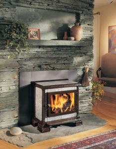 Homestead soapstone stove, with brown design accents, by HearthStone