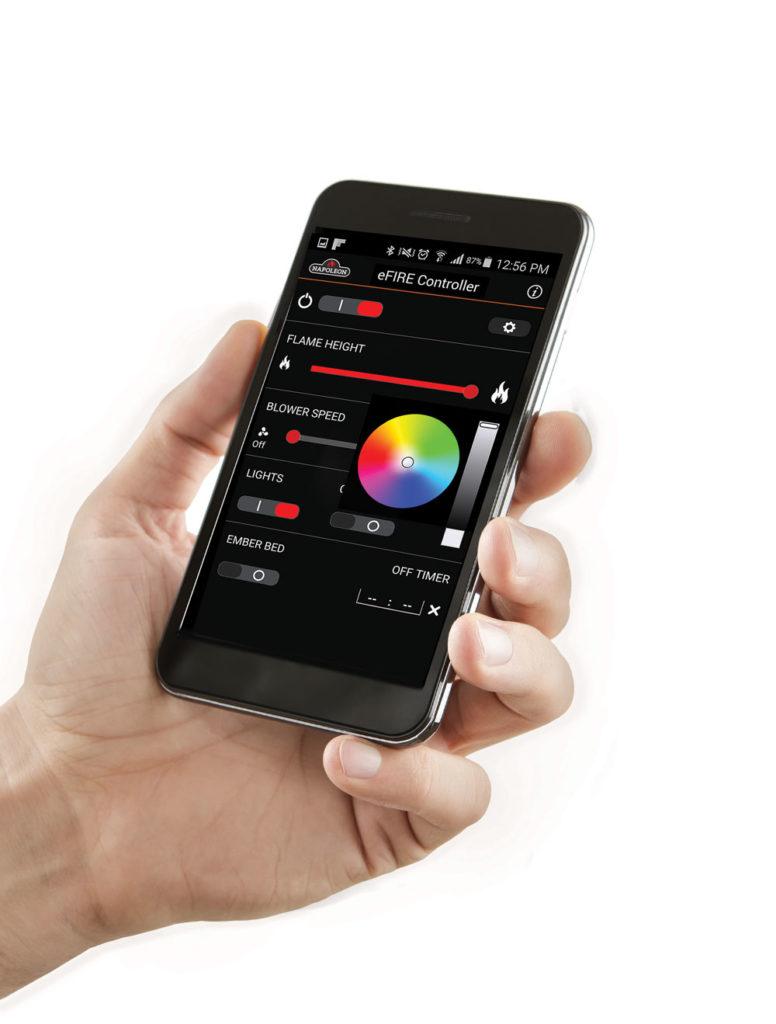 Avec l'application eFire de Napoléon, vous contrôlez entièrement votre foyer au gaz sur votre cellulaire.