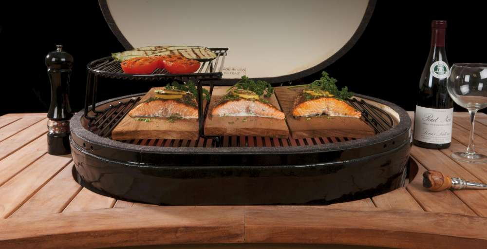 Salmon grilling on a Primo Ceramic Grill