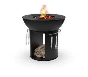 fire pit grill with cooking stand