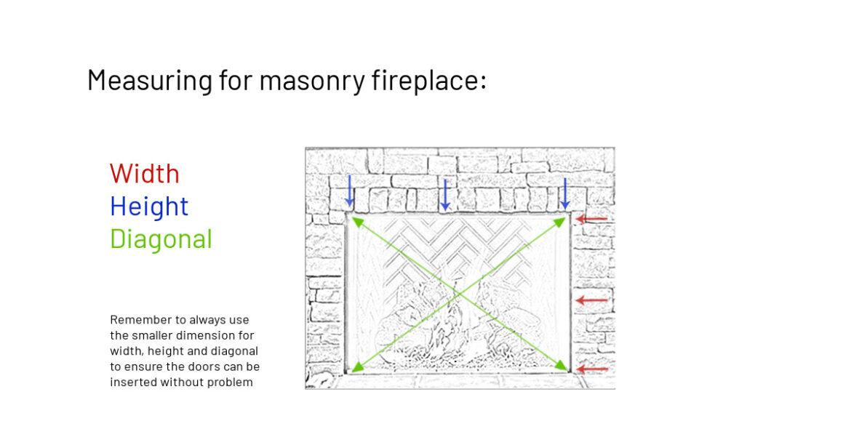 Wood burning fireplace measuring
