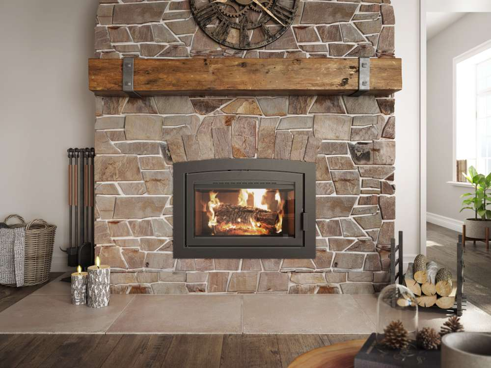 Ambiance wood fireplace Elegance 36 with stone surround, nice new chimney, Can my flue be angled? Can my chimney be angled?