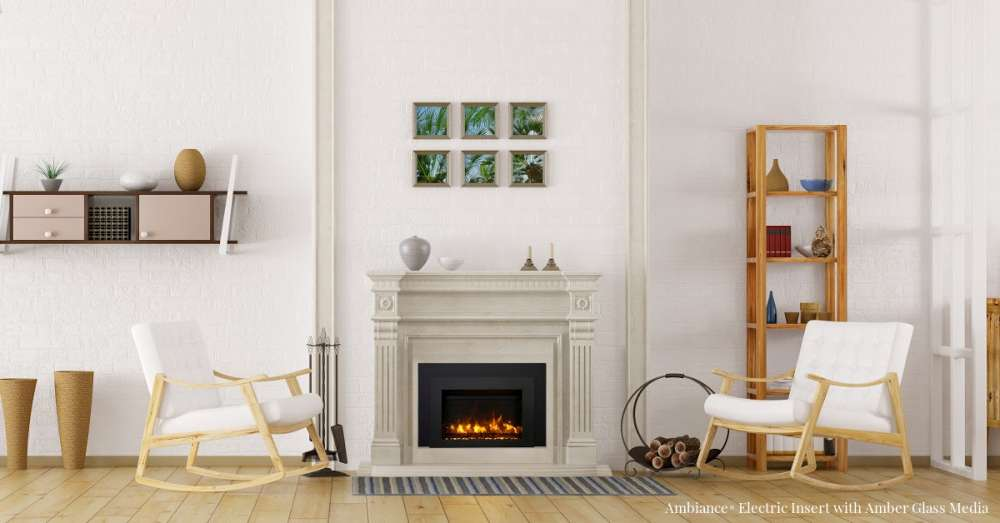 Ambiance® AMB-INS-30 with beige concrete mantel in a white room. Are fireplace inserts worth it?