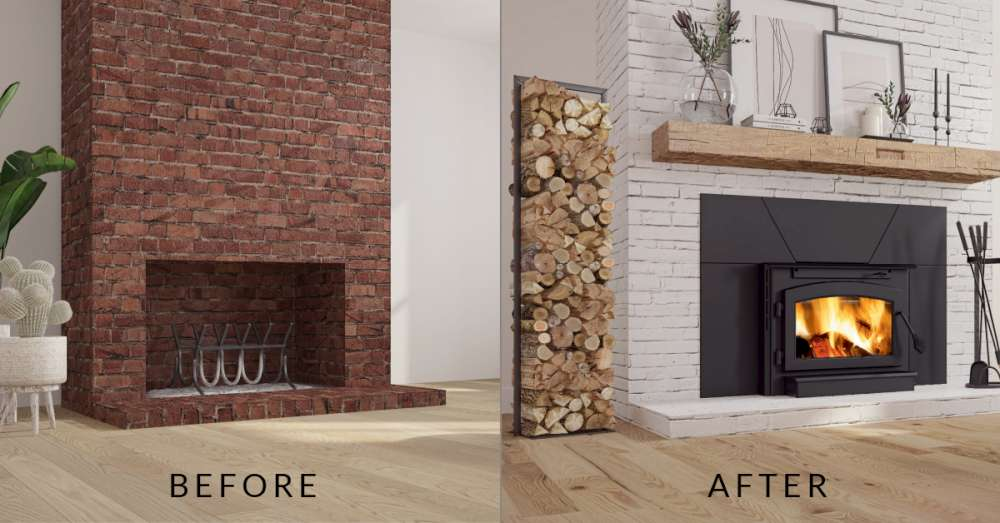 Before and after open brick chimney vs Ambiance fireplaces and grills Outlander 19i wood burning insert. Can Old Chimney be repaired?