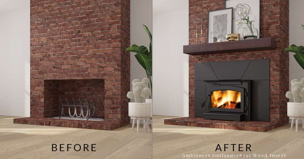 Before and after Old red brick fireplace to new Ambiance® Outlander® 19i woodburning insert with non-combustible mantel. Are fireplace inserts worth it?