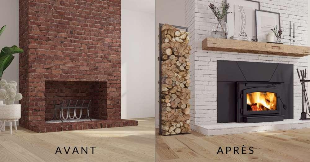 Avant - après Vieux foyer en brique ouvert vs encastrable au bois Outlander 19i par Ambiance Foyers et grils. Peut-on réparer une vielle cheminée?