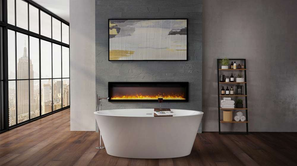 Ambiance beautifull electric linear fireplace IW-50 in a bathroom! Are electric fireplaces expensive to run?